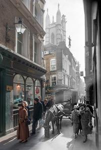 Bow Lane, fim da dédaca de 1930. Foto de George Davison Reid