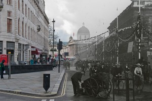 Duncannon Street, Westminster, 1902. The street was decorated for the coronation ceremony of Edward VII