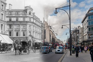 A scene of Oxford Street in 1905 by Christina Broom