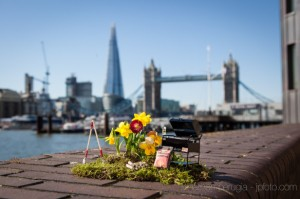 One of The Pothole Gardener's work, with Tower Bridge and The  Shard in the background