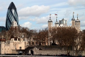 The modern Gherkin (left)  in contrast to the Tower of London (first built in 1078). Photo: Captain Roger Fenton - https://www.flickr.com/photos/762_photo/