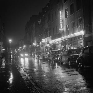 A view down Dean Street, Soho, London, August 1955. (Photo by BIPS/Hulton Archive/Getty Images)